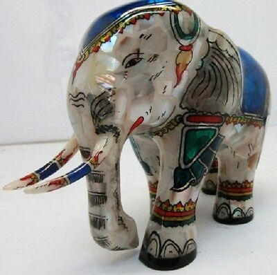 Inlaid Mother of Pearl Royal hand painted elephant statue