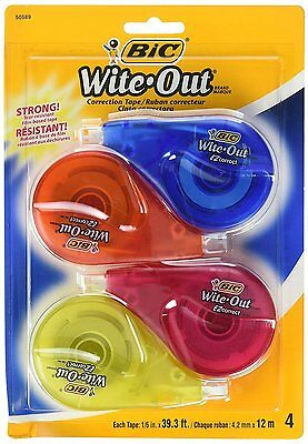 BIC White-Out Brand EZ Correct Correction Tape, 4 Count (Total of 157.2 Feet)