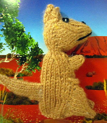 Hand Knitted 9Cm Tall Kangaroo Finger Puppet On A Blank Gift Card With Envelope