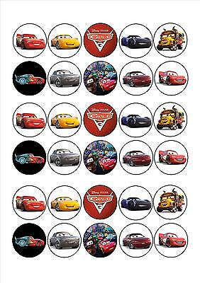 30 x Cars 3 Mini Cupcake Edible Wafer Cake Toppers
