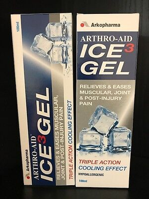 2 x Arthro-Aid Ice Gel 100ml Triple Action Cooling Effect Hypoallergenic