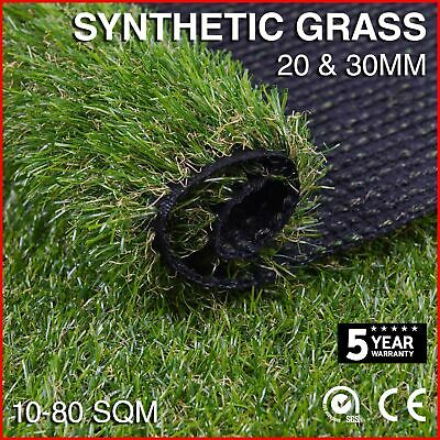 Synthetic Grass 10-80 SQM Fake Turf Artificial Mat Plant Lawn Flooring 20 30mm