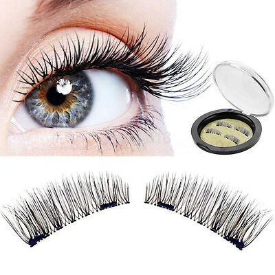 3D Double Magnetic Quality Natural False Eyelashes Extension Hand made 4/pcs Set