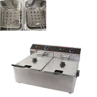 Restaurant Catering 5000W Double Electric Fryer W/ Stainless Steel Basket Handle