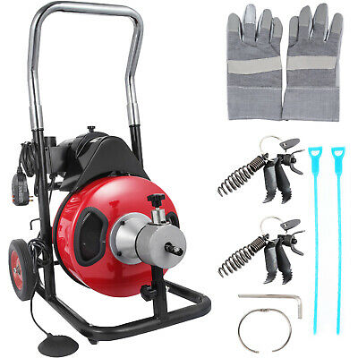 "Commercial Drain Cleaner 50ftx1/2"" Drain Cleaning Machine Snake Sewer 5 Cutter"