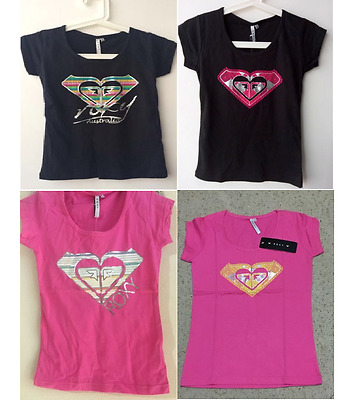 NWT Roxy Girl's Kids Sleeve Scoop Neck Cotton T-Shirt Tee Top Casual Size 8-14