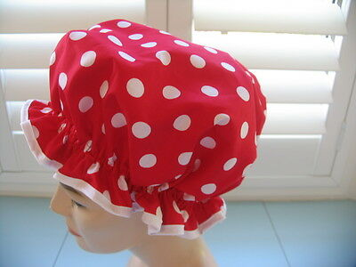 QUALITY SHOWER CAP COTTON  RED  / WHITE POLKA DOTS  water proof