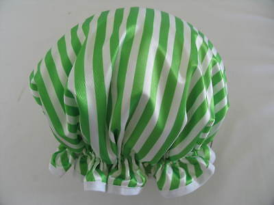 Shower Cap Hat   Handmade, Waterproof White With Apple Green Stripes