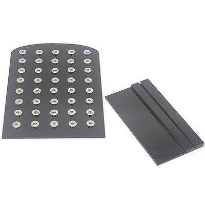 Portable Black Genuine Leather Display for 12mm Snap Buttons Chunk Jewelry