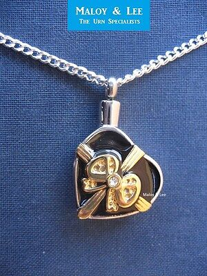Silver Heart with Gold Bow Cremation Keepsake Pendant Jewellery Necklace Urn