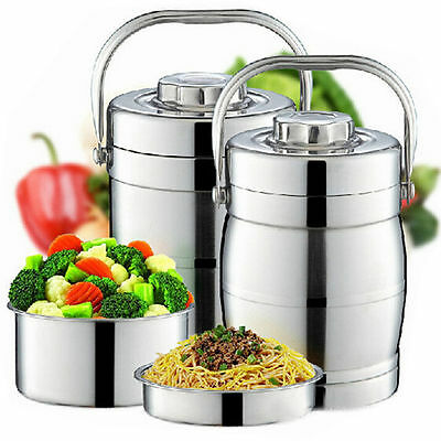3Tiers Double Wall Stainless Steel Vacuum Insulated Thermal Jar Picnic Lunch Box