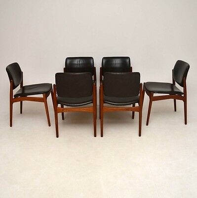 SET OF 6 DANISH TEAK & LEATHER RETRO DINING CHAIRS BY ERIK BUCH VINTAGE 1960's