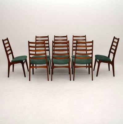 SET OF 8 DANISH RETRO ROSEWOOD & SUEDE DINING CHAIRS VINTAGE 1960's