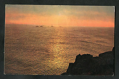 Posted 1962: View of the Lighthouse at Sunset, Land's End, Cornwall