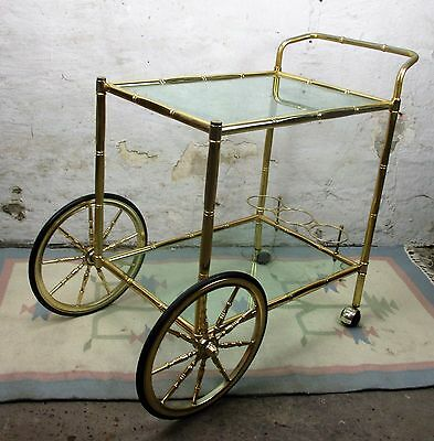 Bar Cart Trolley Cocktail Entertainment Hollywood Regency Green Colored Glass