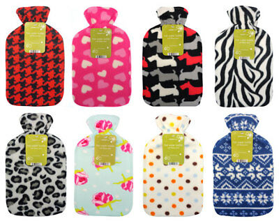 Country Club Cosy Large Hot Water Bottle With Printed Fleece Cover