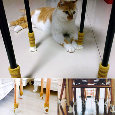 4pcs Cute  Knit Cat Paw Table Chair Foot Leg Cover Protect Sock Sleeve Protector