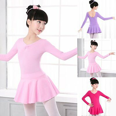 Girls Long Sleeve Gymnastics Ballet Dress Kids Leotard Unitard Dancewear Clothes