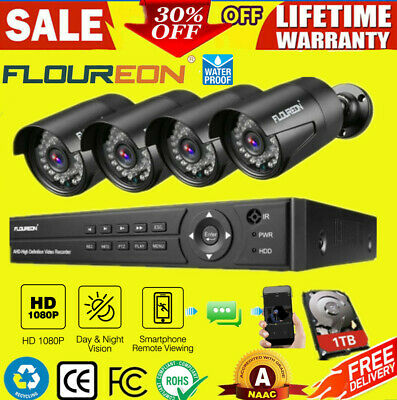 FLOUREON 8CH 1080N 5 IN 1 DVR 3000TVL CCTV Home Security IP Camera System Kit UK