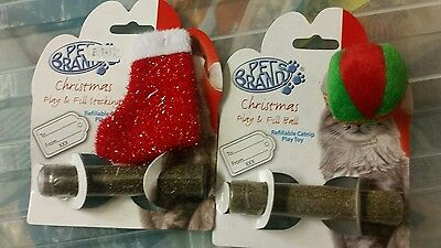Catnip Christmas Cat Kitten Toy Bundle x 2 - Festive Stocking &  Festive Ball