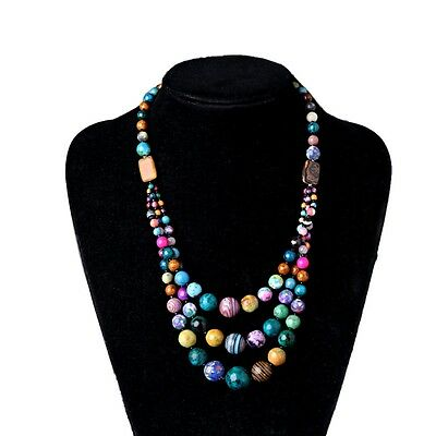Vintage Colorful 3 Strands Stone Bead Necklace Collar Triple Layers Jewelry