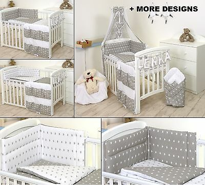 GREY - WHITE STARS BABY BOY/GIRL BEDDING SET COT or COT BED SIZE+MORE DESIGNS