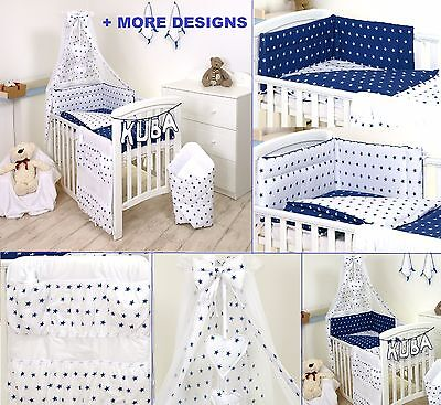 WHITE -BLUE- STARS BABY BOY/GIRL BEDDING SET COT or COT BED SIZE+MORE DESIGNS