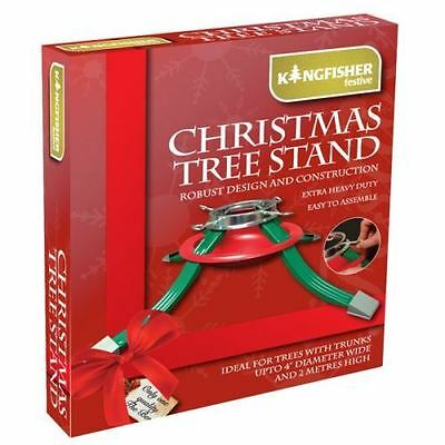 Metal Christmas Tree Stand 4 Legs Water Dish To Reduce Needle Drop Max 30kg Tree