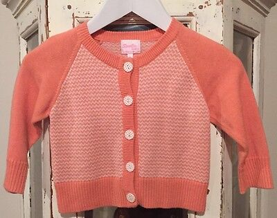 """Scooter baby""Unisex.Size 0.Retro Cardigan.Orange & White in Colour.Button up fr"