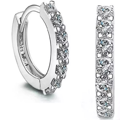 925 Sterling Silver Small Round Crystal Hinged Huggie Hoop Earrings Women Gift