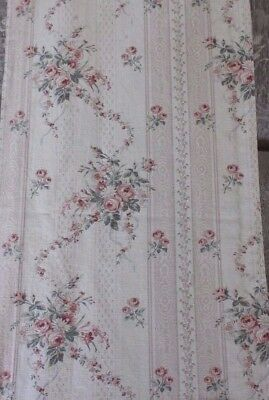 Romantic Pale Pink Floral Antique French Cotton Fabric c1880~Ribbons & Roses