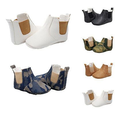 UK STOCK Baby Girls Boys Soft Sole Boots Synthetic Leather Crib Shoes Prewalker