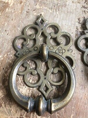 Vintage Keller Brass Company Drop Ring Door Dresser Handle Drawer Pull