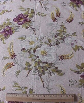 """Antique French County Rose Printed Floral Cotton Fabric c1870~31""""L X 32""""W"""