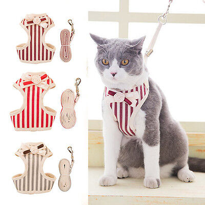 New Pet Harness Leash Set Cat Small Dog Puppy Comfort Striped Vest Lead Strap