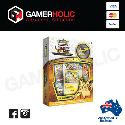 POKEMON TCG Shining Legends Pin Collection Box Pikachu 3 Booster Packs