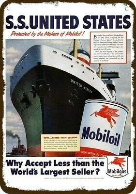 1952 MOBILOIL Vintage Look Replica Metal Sign - S.S. UNITED STATES CRUISE SHIP