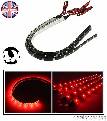 4X 30 Cm 3528 Smd Led Red Waterproof Flexible Strip Light Lamps For In/under Car