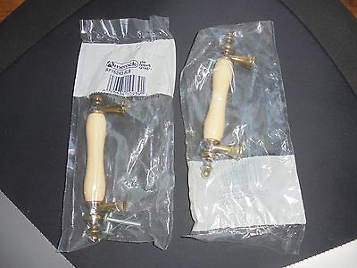 """Amerock Ivory Porcelain Brass Cabinet Pull Handle NEW 5"""" long Home Decor"""