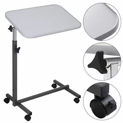 Gray Overbed Rolling Table Over Bed Laptop Food Tray Hospital Desk Tilting Top +
