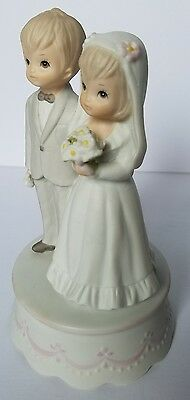 """Vintage 1982 Lefton Porcelain Musicbox Bride Groom """" The Lord Bless & Keep You"""""""