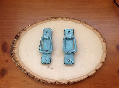 286 VTG Ring Pulls Wt Back Plates In A Turquoise Distress Set Of 2