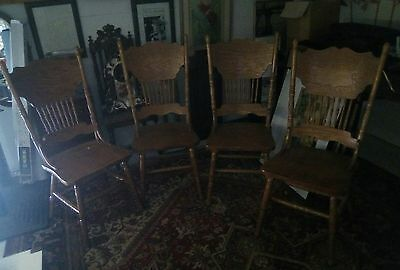 4 x Old Light Wood Matching Dining Chairs