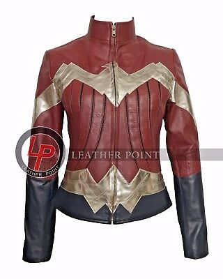 New Wonder Woman 2017 Classic Iconic Leather Costume Jacket