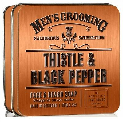 Thistle & Black Pepper Face & Beard Soap in a Tin-The Scottish Fine Soap Co-100g