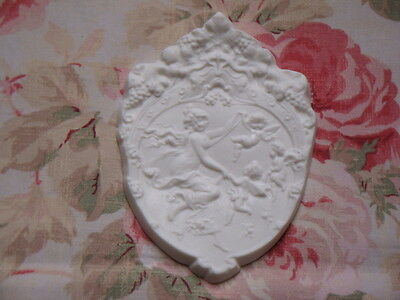 New! Shabby n Chic Ornate Cherub Goddess Architectural Furniture Plaque Pediment