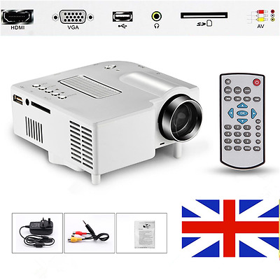 LED Projector Portable Mini Cinema Theater PC Laptop HDMI USB SD VGA AV input UK