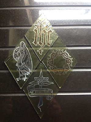 Set 12, Of VICTORIAN Stained Glass Quarry's From A Church Window Circa 1880 VGC.