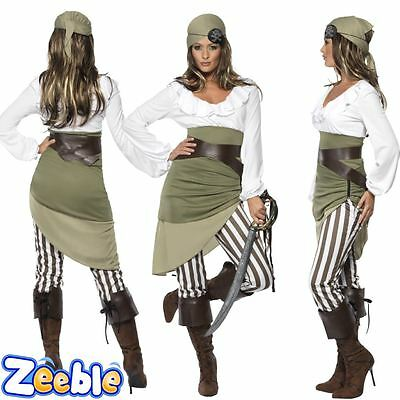 Womens Pirate Costume Ladies Buccaneer Fancy Dress Outfit Shipmate Wench