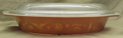 Vintage PYREX American Heritage brown and gold Divided Casserole Dish With Lid